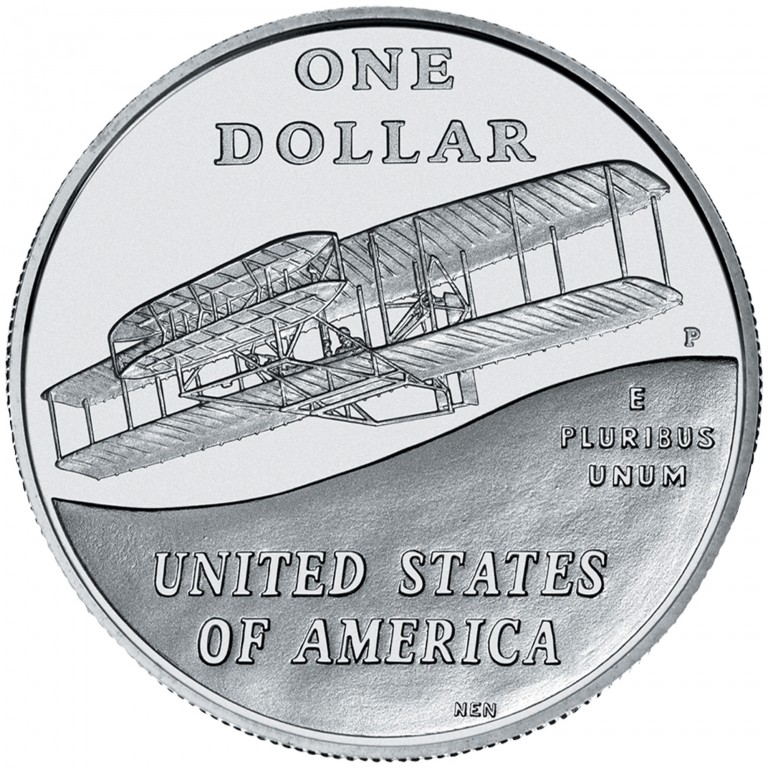 2003 First Flight Centennial Commemorative Silver One Dollar Uncirculated Reverse