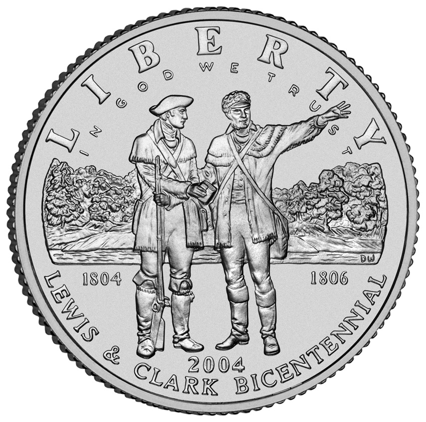 2004 Lewis And Clark Bicentennial Commemorative Silver One Dollar Uncirculated Obverse