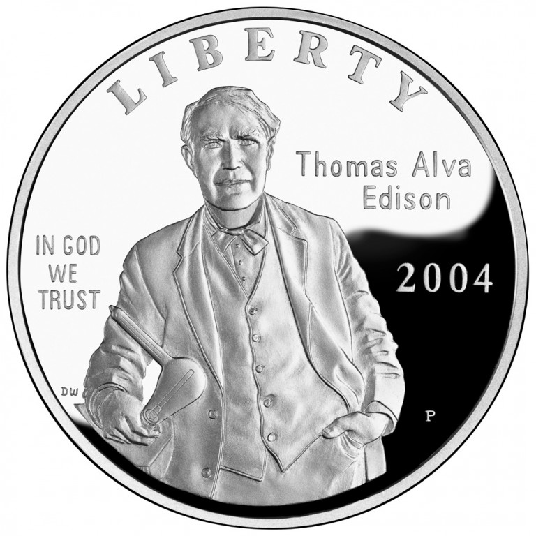 2004 Thomas Edison Commemorative Silver One Dollar Proof Obverse