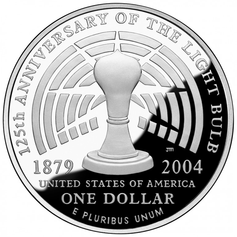 2004 Thomas Edison Commemorative Silver One Dollar Proof Reverse