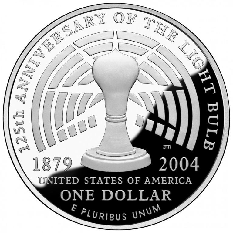 2004 Thomas Edison Commemorative Silver One Dollar Proof Reverse
