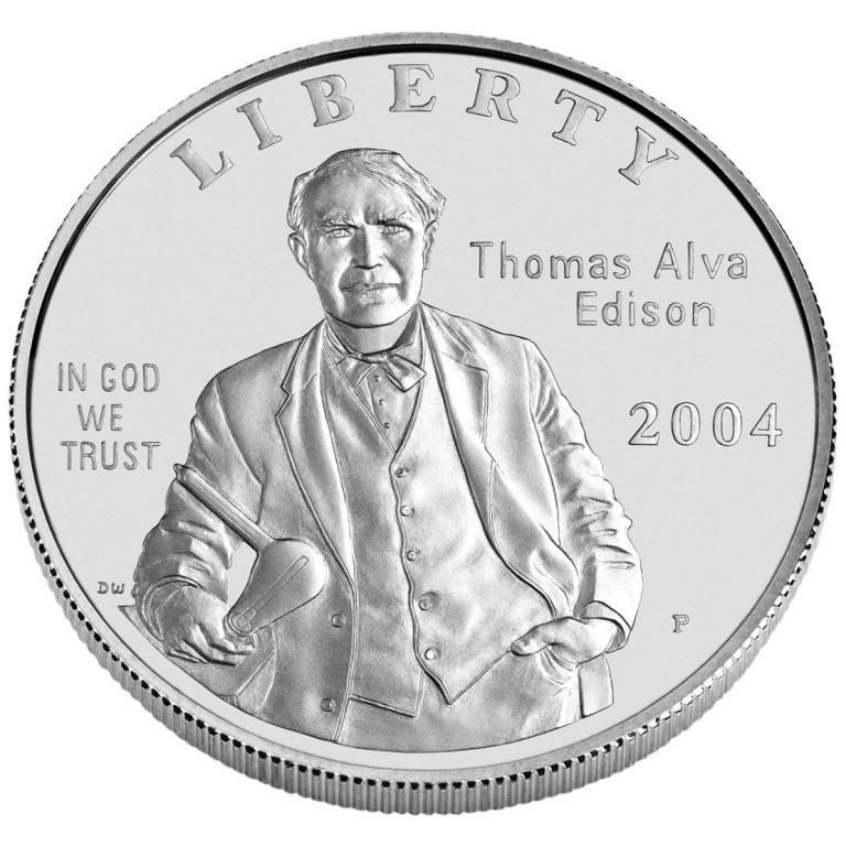 2004 Thomas Edison Commemorative Silver One Dollar Uncirculated Obverse