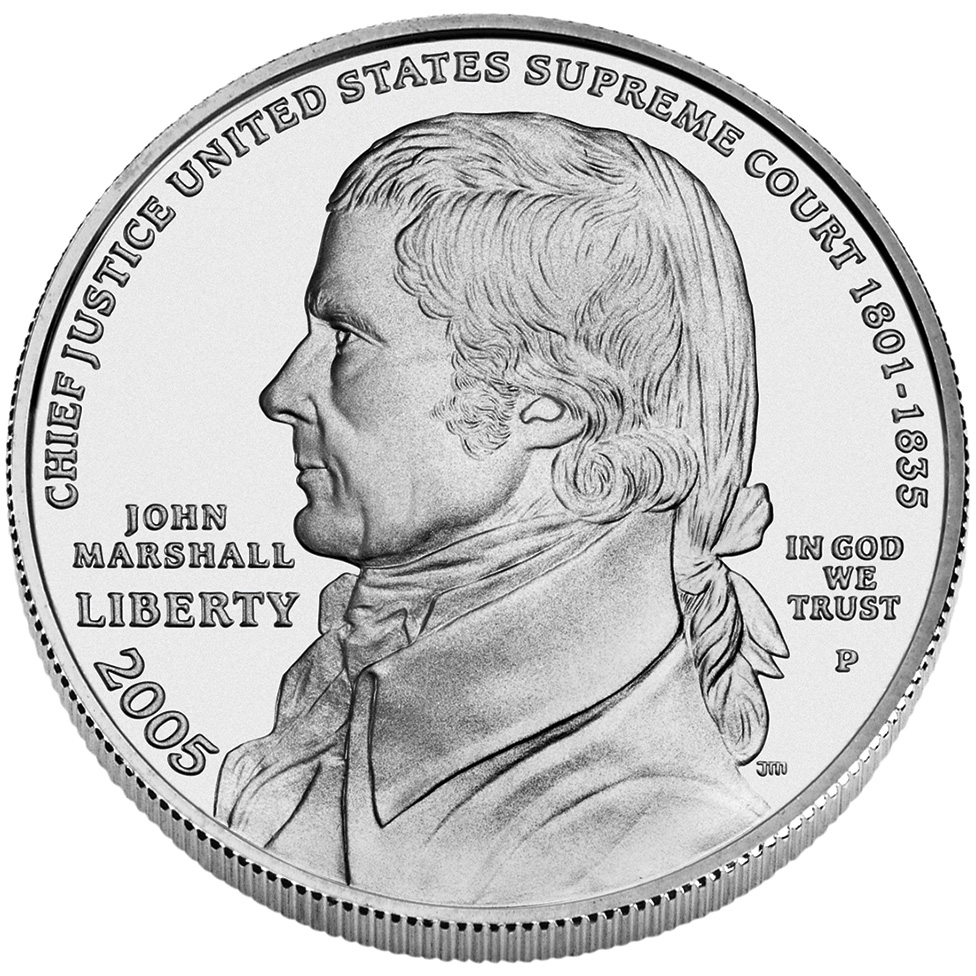 2005 Chief Justice John Marshall Commemorative Silver One Dollar Uncirculated Obverse