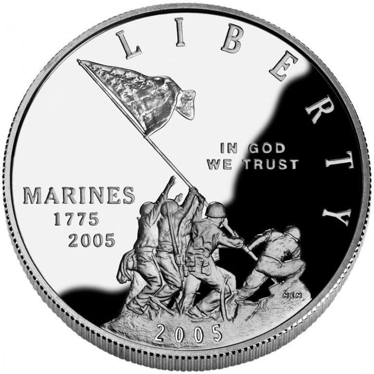 2005 United States Marine Corps Commemorative Silver One Dollar Proof Obverse