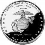 2005 United States Marine Corps Commemorative Silver One Dollar Proof Reverse