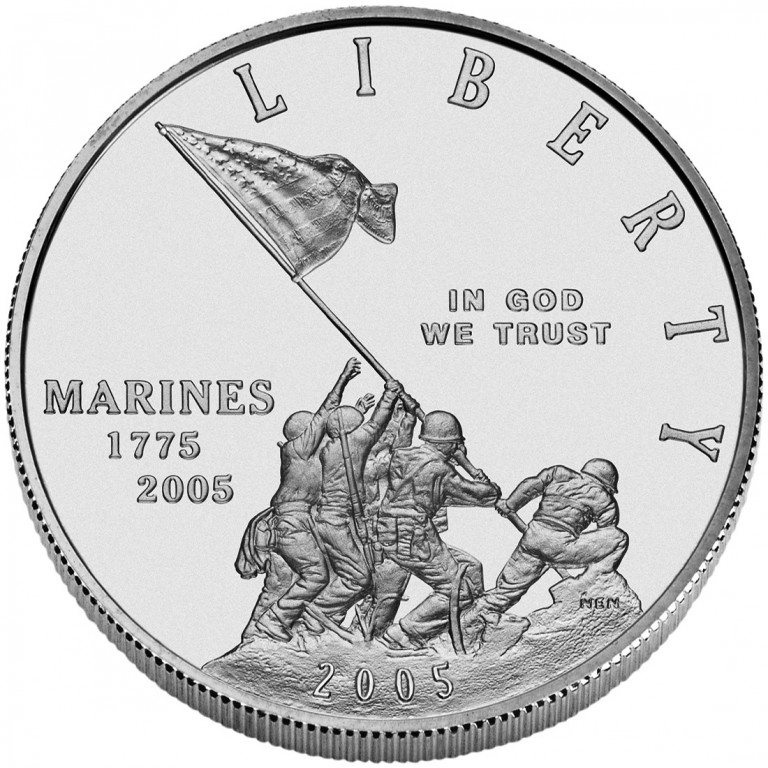 2005 United States Marine Corps Commemorative Silver One Dollar Uncirculated Obverse