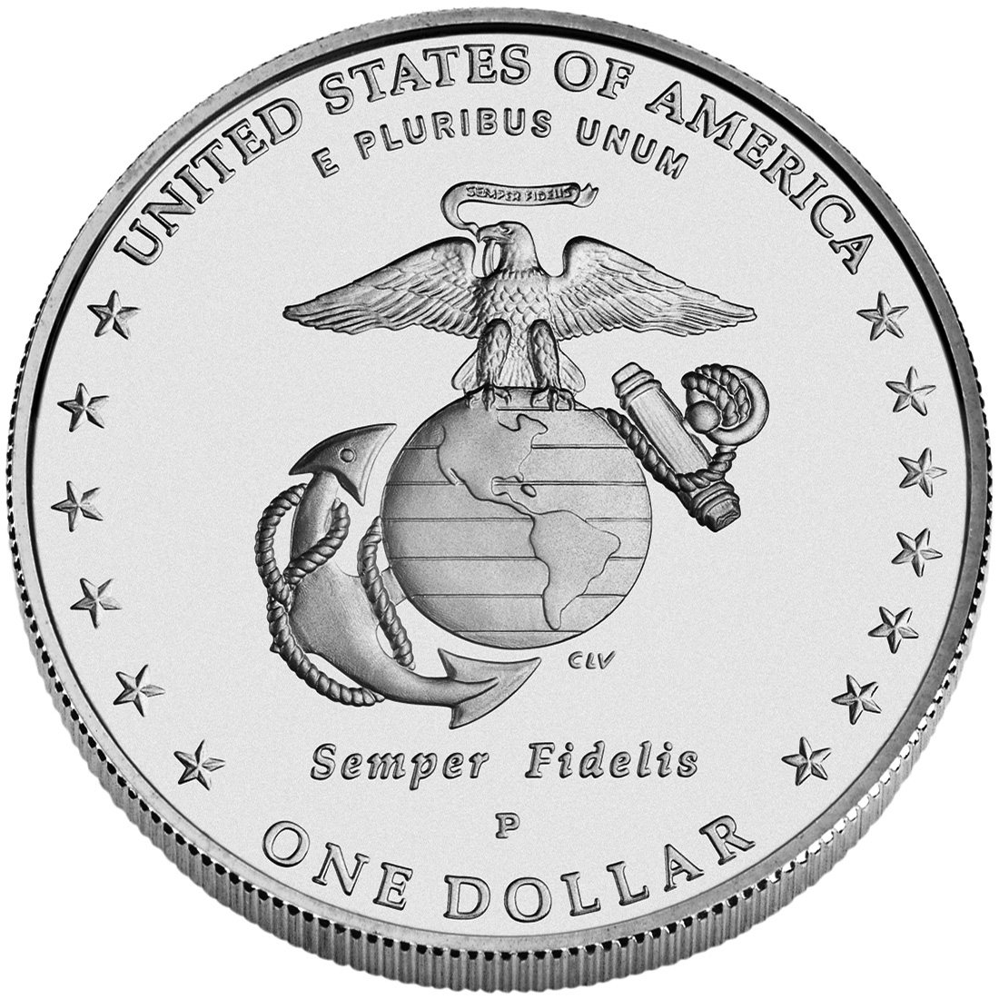 2005 United States Marine Corps Commemorative Silver One Dollar Uncirculated Reverse