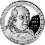 2006 Benjamin Franklin Founding Father Commemorative Silver One Dollar Proof Obverse