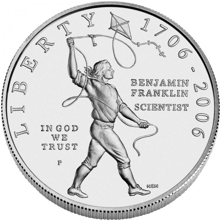 2006 Benjamin Franklin Scientist Commemorative Silver One Dollar Uncirculated Obverse