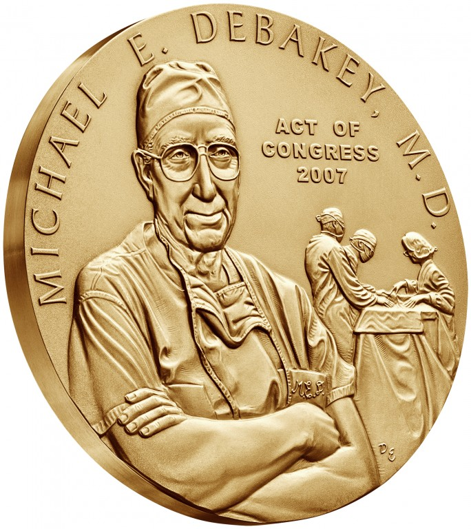 2007 Doctor Michael E. Debakey Bronze Medal Three Inch Obverse Angle