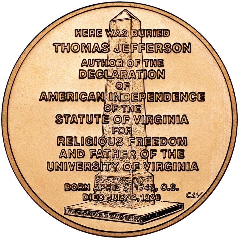 Jefferson Liberty First Spouse Bronze Medal Reverse