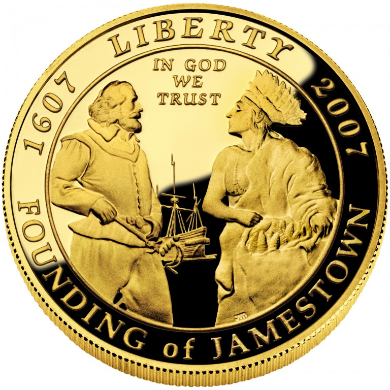 2007 Jamestown Quadricentennial Commemorative Gold Five Dollar Proof Obverse
