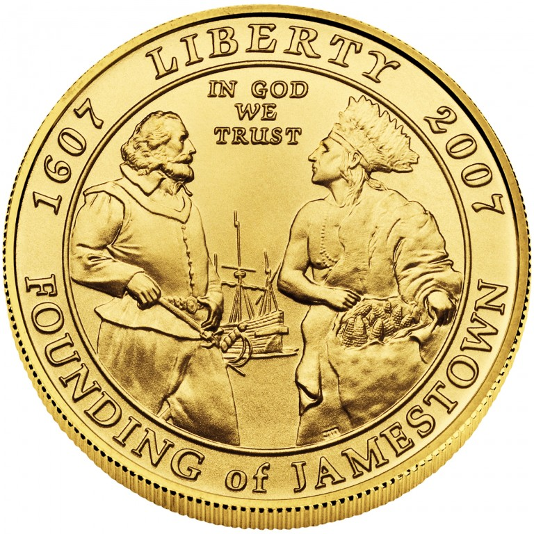2007 Jamestown Quadricentennial Commemorative Gold Five Dollar Uncirculated Obverse
