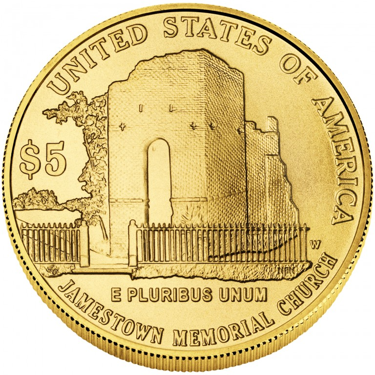 2007 Jamestown Quadricentennial Commemorative Gold Five Dollar Uncirculated Reverse
