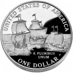 2007 Jamestown Quadricentennial Commemorative Silver One Dollar Proof Reverse
