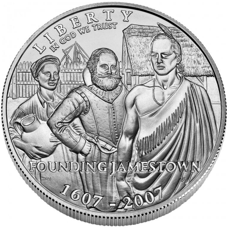 2007 Jamestown Quadricentennial Commemorative Silver One Dollar Uncirculated Obverse