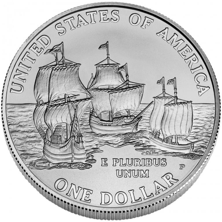 2007 Jamestown Quadricentennial Commemorative Silver One Dollar Uncirculated Reverse