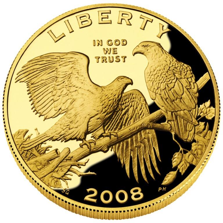 2008 Bald Eagle Commemorative Gold Five Dollar Proof Obverse