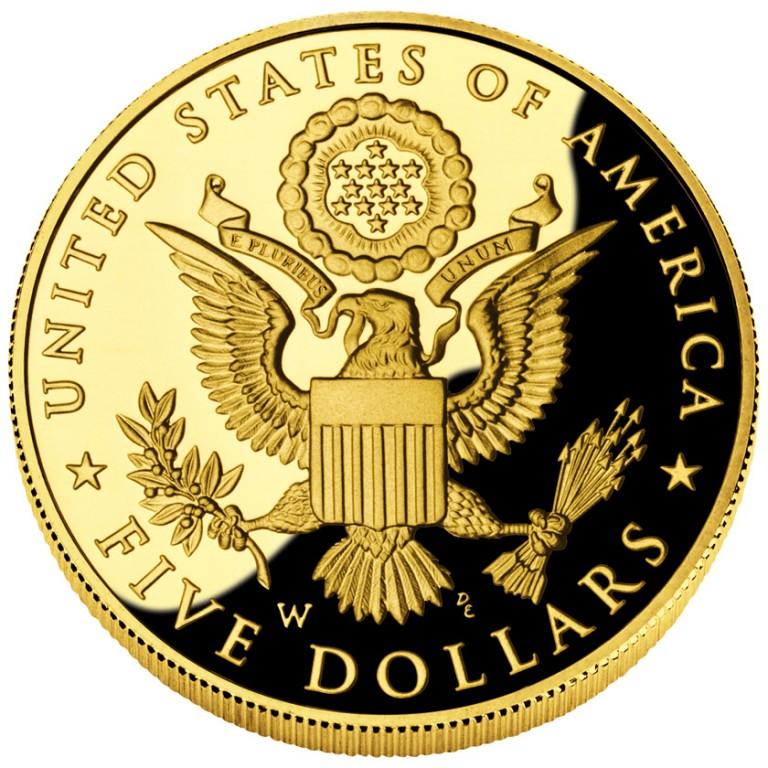 2008 Bald Eagle Commemorative Gold Five Dollar Proof Reverse