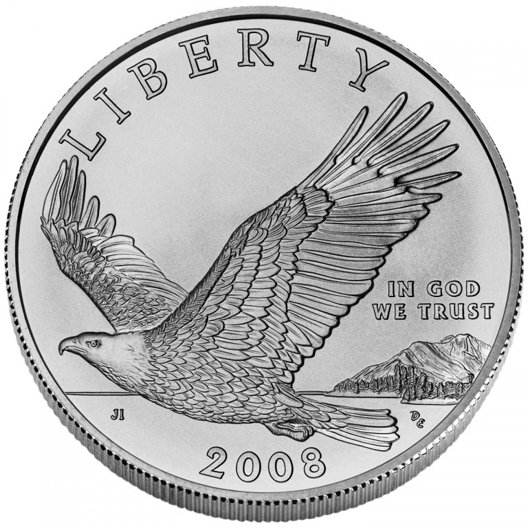 2008 Bald Eagle Commemorative Silver One Dollar Uncirculated Obverse