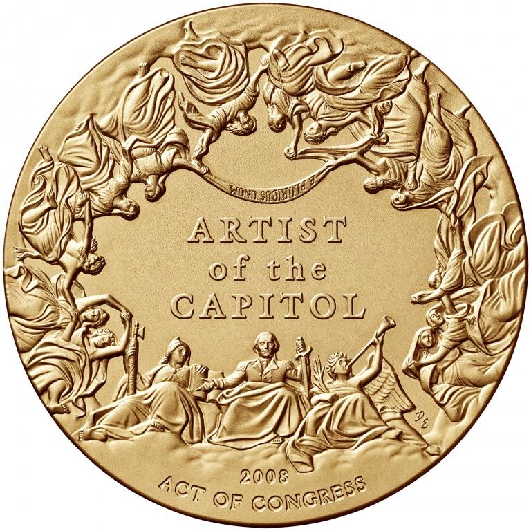 2008 Constantino Brumidi Bronze Three Inch Medal Reverse