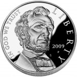 2009 Abraham Lincoln Commemorative Silver One Dollar Proof Obverse