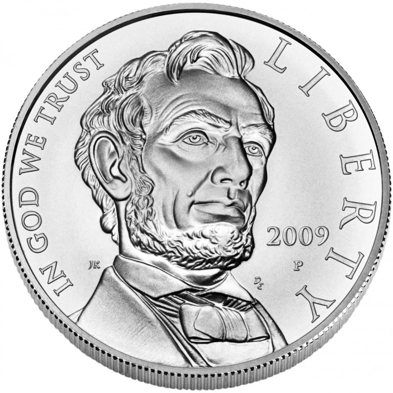 2009 Abraham Lincoln Commemorative Silver One Dollar Uncirculated Obverse