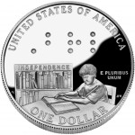 2009 Louis Braille Bicentennial Commemorative Silver One Dollar Proof Obverse