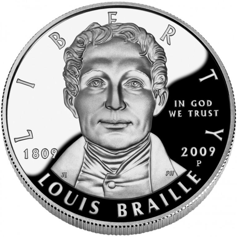 2009 Louis Braille Bicentennial Commemorative Silver One Dollar Proof Reverse