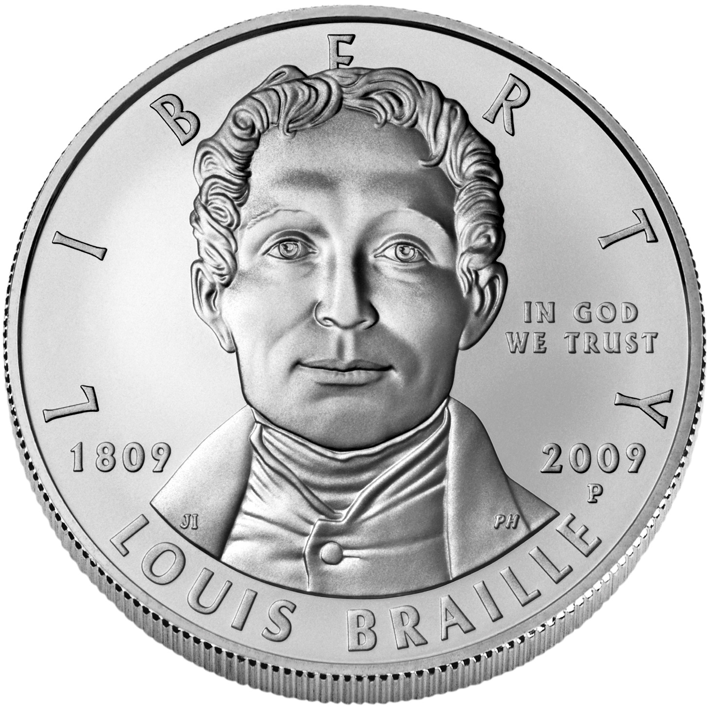 2009 Louis Braille Bicentennial Commemorative Silver One Dollar Uncirculated Obverse