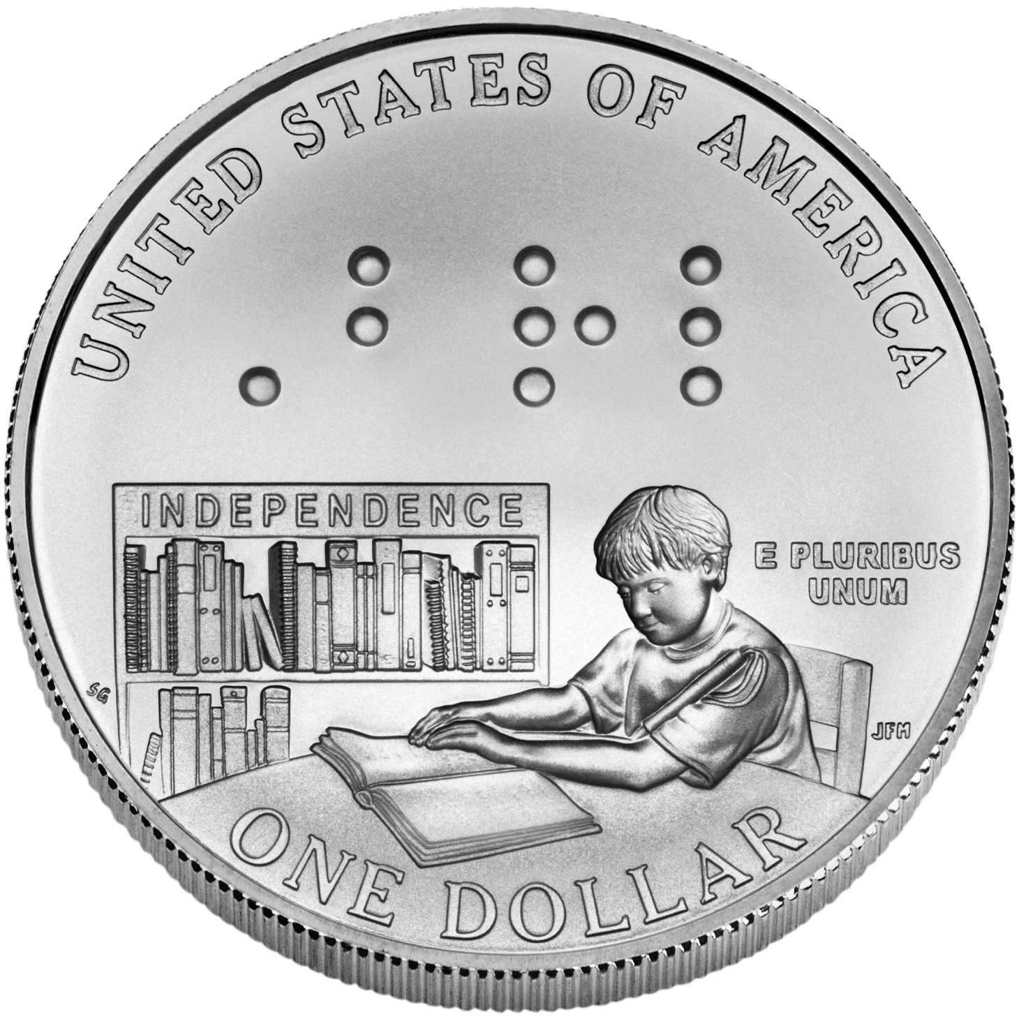 2009 Louis Braille Bicentennial Commemorative Silver One Dollar Uncirculated Reverse