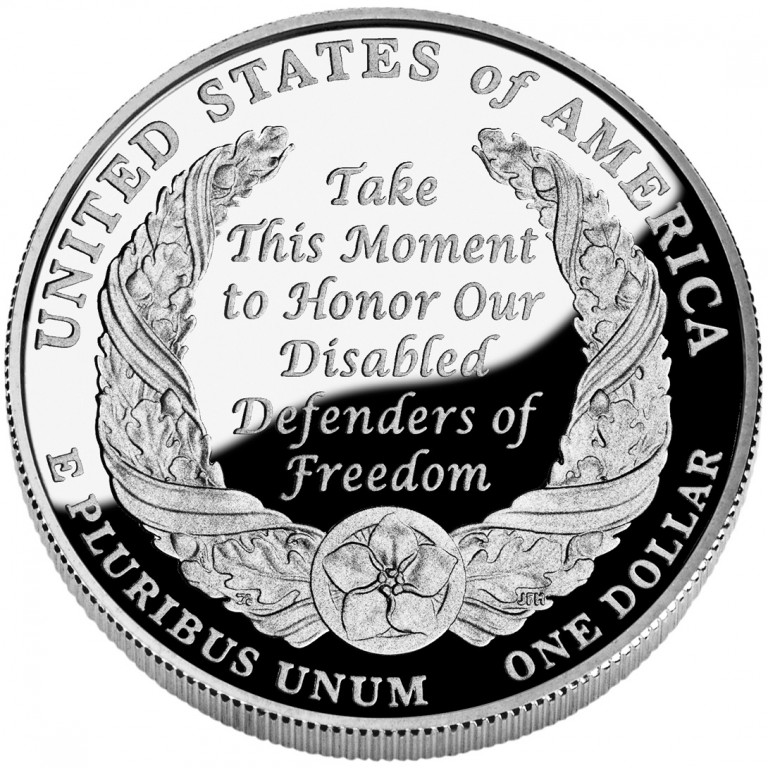 2010 American Veterans Disabled For Life Commemorative Silver One Dollar Proof Reverse