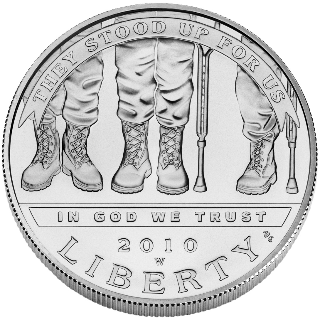 2010 American Veterans Disabled For Life Commemorative Silver One Dollar Uncirculated Obverse
