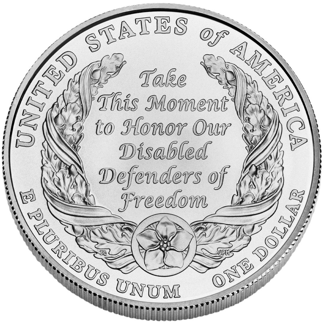 2010 American Veterans Disabled For Life Commemorative Silver One Dollar Uncirculated Reverse