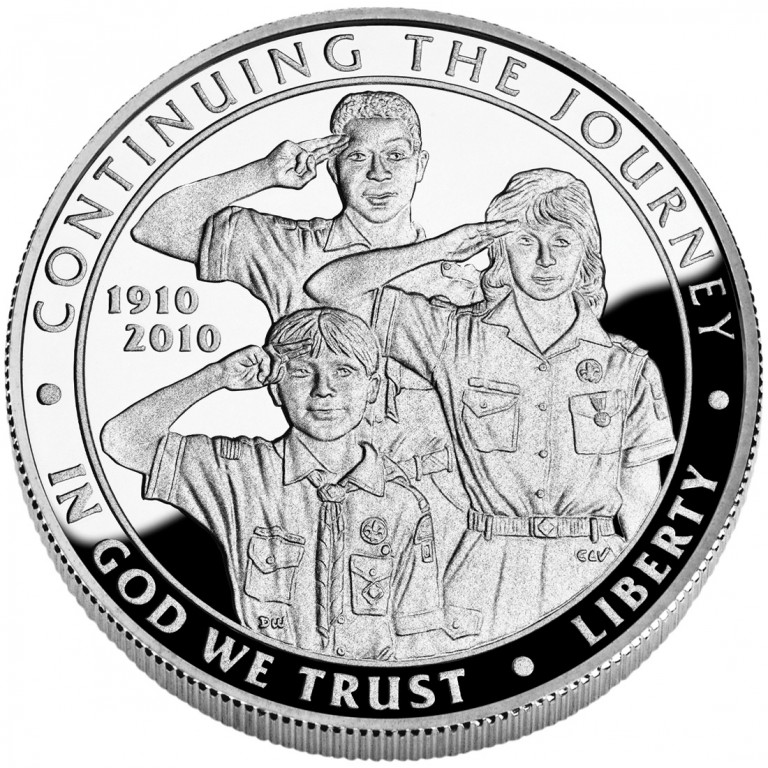 2010 Boy Scouts Of America Centennial Commemorative Silver One Dollar Proof Obverse