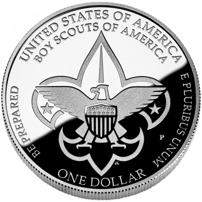 2010 Boy Scouts Of America Centennial Commemorative Silver One Dollar Proof Reverse