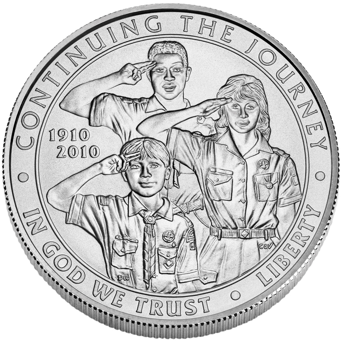 2010 Boy Scouts Of America Centennial Commemorative Silver One Dollar Uncirculated Obverse