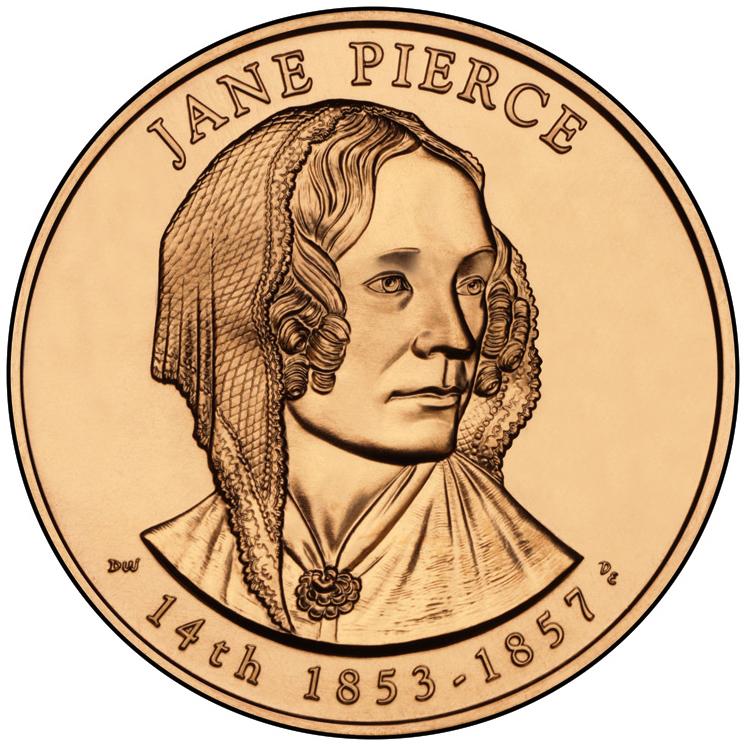 Jane Pierce First Spouse Bronze Medal Obverse