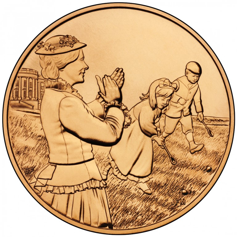 Lucy Hayes First Spouse Bronze Medal Reverse