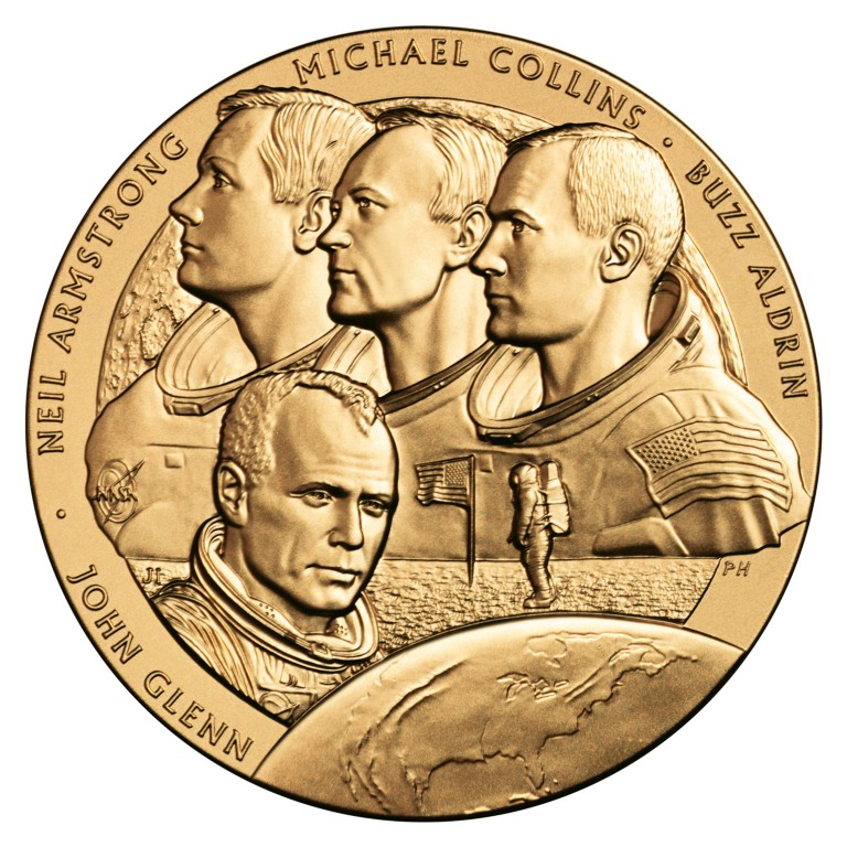 The New Frontiers Congressional Gold Medal honored Friendship 7 and Apollo 11 astronauts.