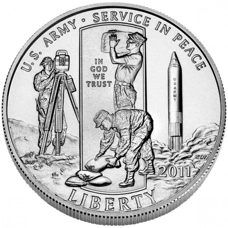 2011 United States Army Commemorative Clad Half Dollar Uncirculated Obverse