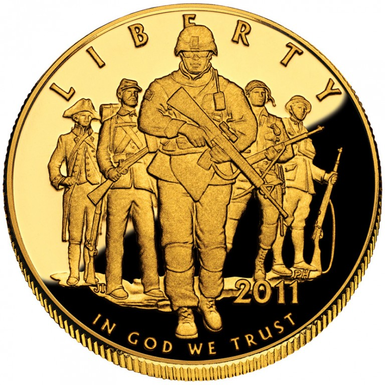 2011 United States Army Commemorative Gold Five Dollar Proof Obverse