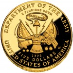 2011 United States Army Commemorative Gold Five Dollar Proof Reverse