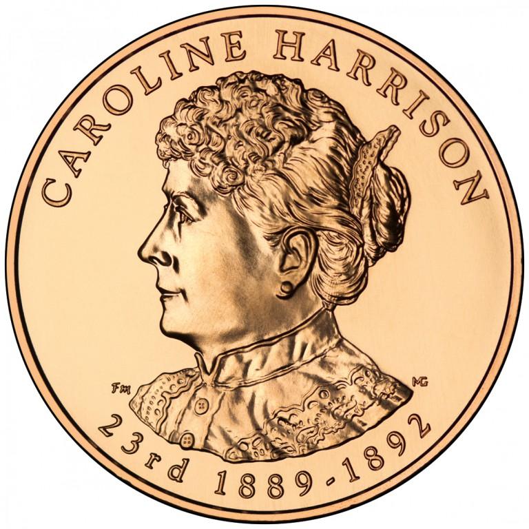 Caroline Harrison First Spouse Bronze Medal Obverse