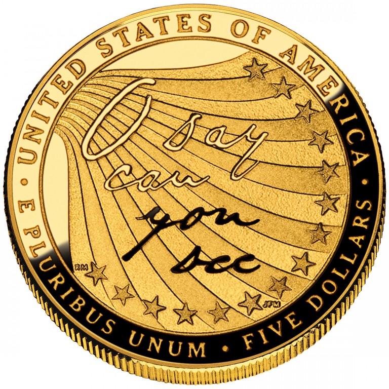 2012 Star Spangled Banner Commemorative Gold Five Dollar Proof Reverse