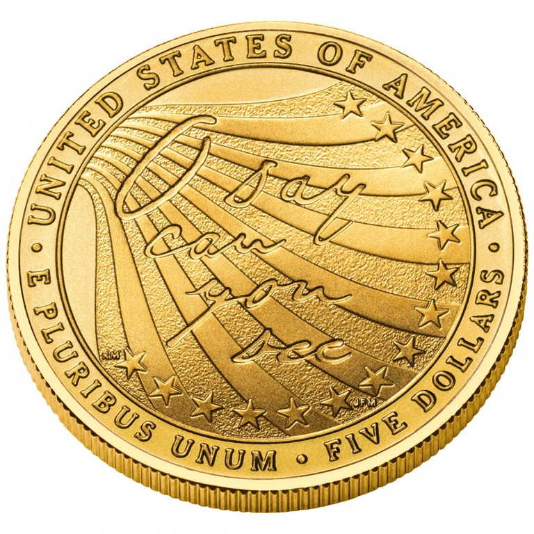 2012 Star Spangled Banner Commemorative Gold Five Dollar Uncirculated Reverse