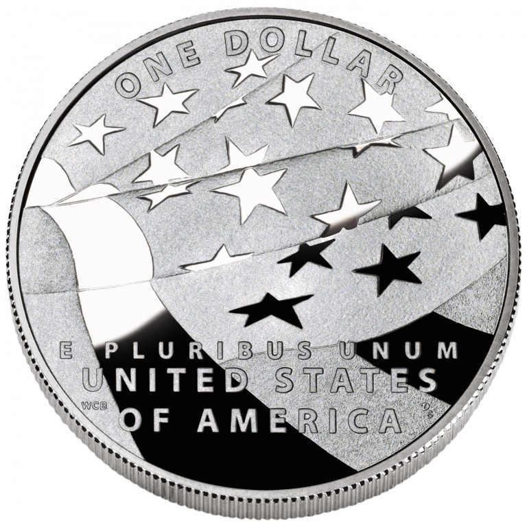 2012 Star Spangled Banner Commemorative Silver One Dollar Proof Reverse