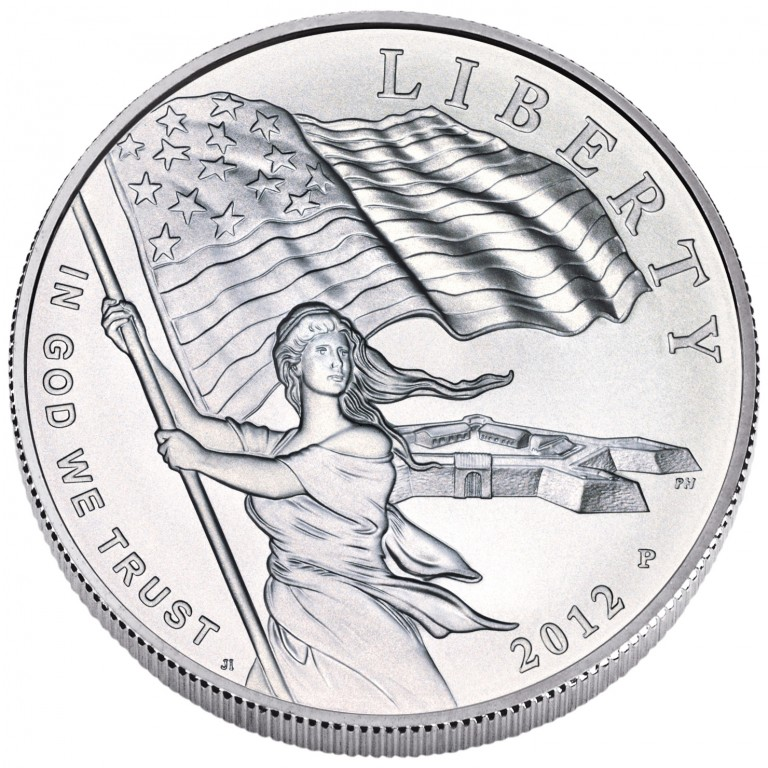 2012 Star Spangled Banner Commemorative Silver One Dollar Uncirculated Obverse