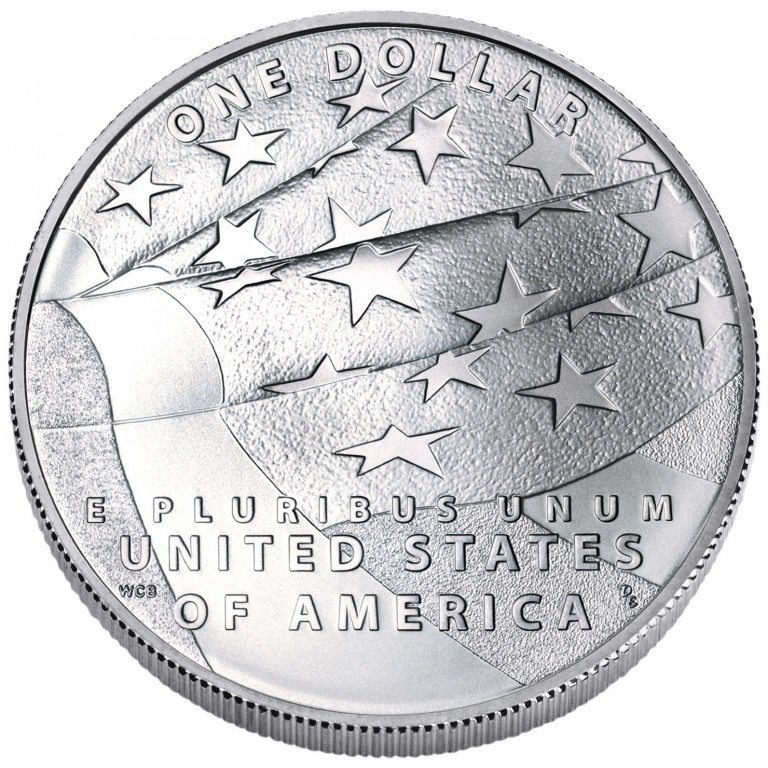 2012 Star Spangled Banner Commemorative Silver One Dollar Uncirculated Reverse