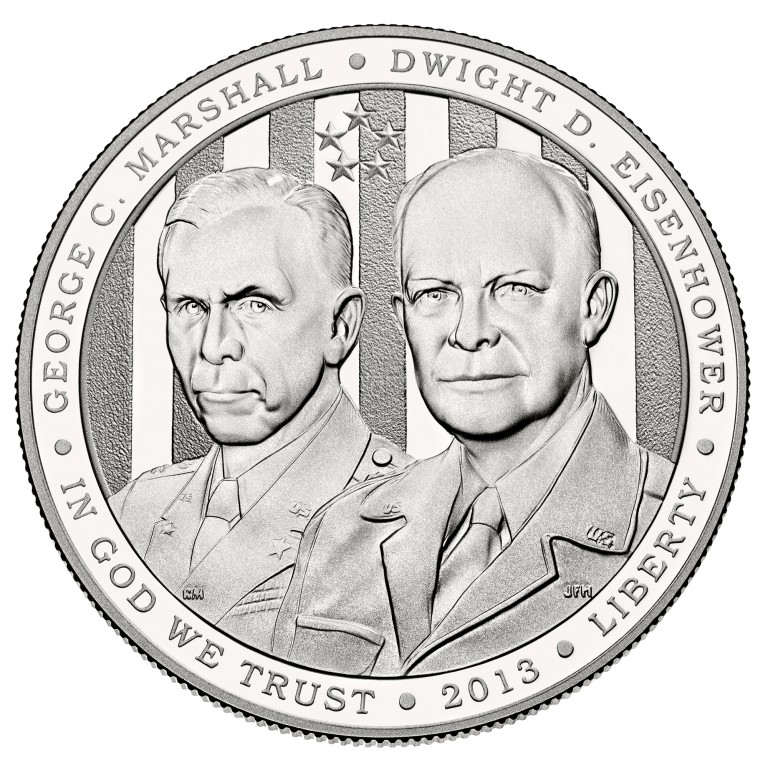 2013 Five Star Generals Commemorative Silver One Dollar Proof Obverse